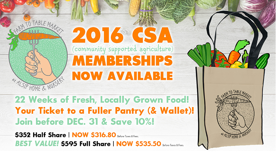 Purchase your 2016 Farm to Table Market CSA Shares Today!