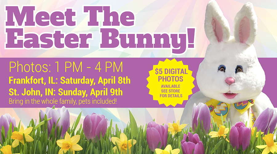 Meet the Easter Bunny at Alsip Home & Nursery in St. John, IN and Frankfort, IL!