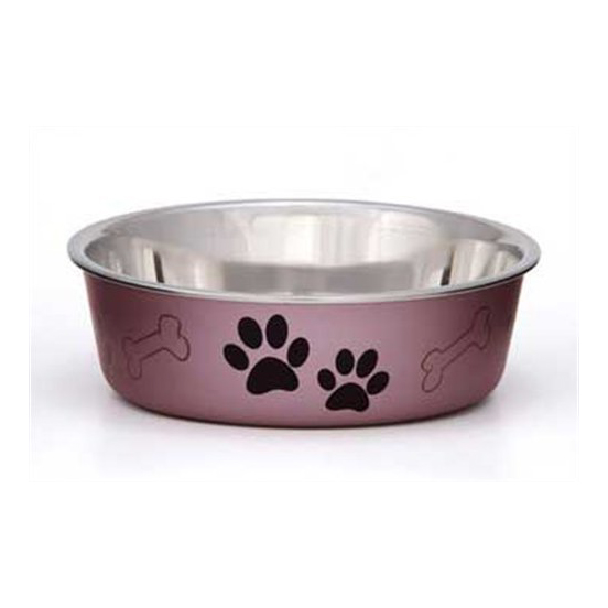 BELLA BOWLS DOG BOWL, METALLIC, SMALL