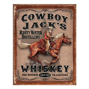 COWBOY JACK'S WHISKEY METAL SIGN