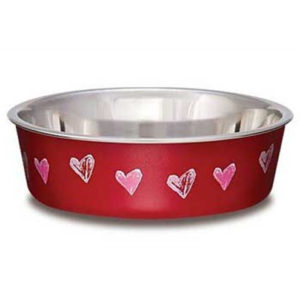 LOVING PETS HEARTS BELLA BOWL FOR PETS, SMALL, 1-PINT, VALENTINE RED