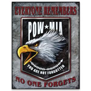 POW MIA Eagle Metal Sign