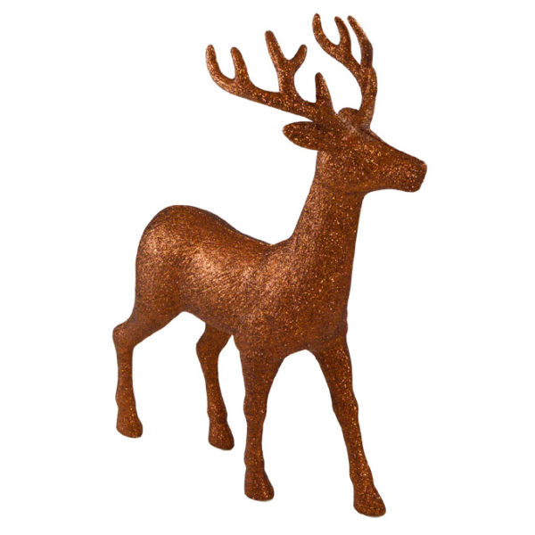 "18"" Brown Glitter Standing Deer"