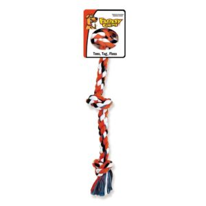 MAMMOTH FLOSSY CHEWS COTTONBLEND COLOR 3-KNOT ROPE TUG, MINI
