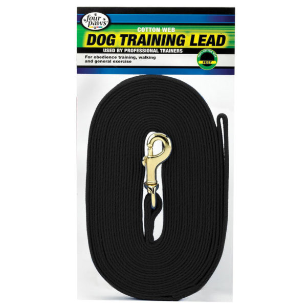 15' DOG TRAINING BLACK COTTON WEB LEAD