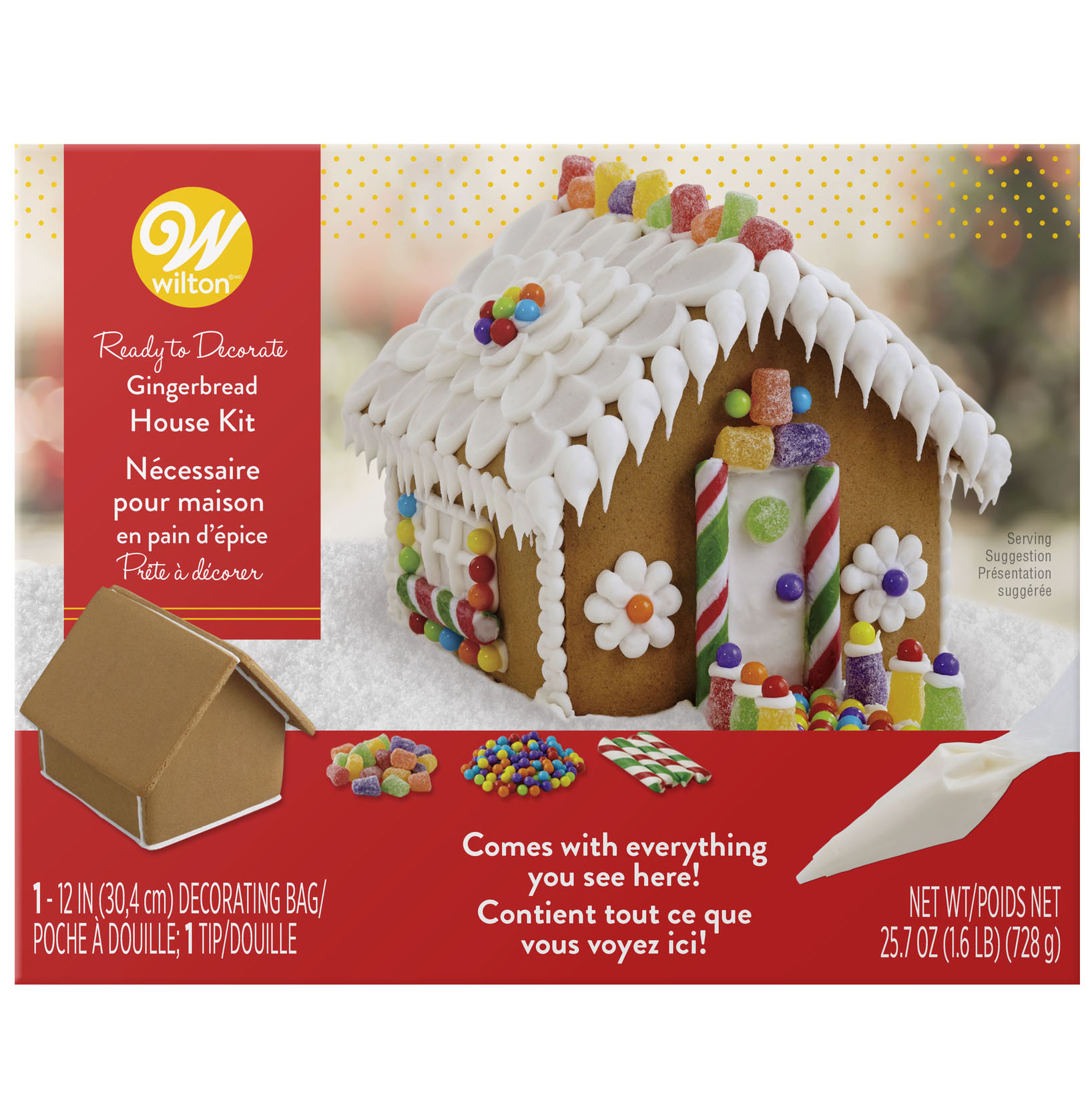 Fully Decorated Christmas Tree Decoration Kit.Ready To Decorate Gingerbread House Decorating Kit