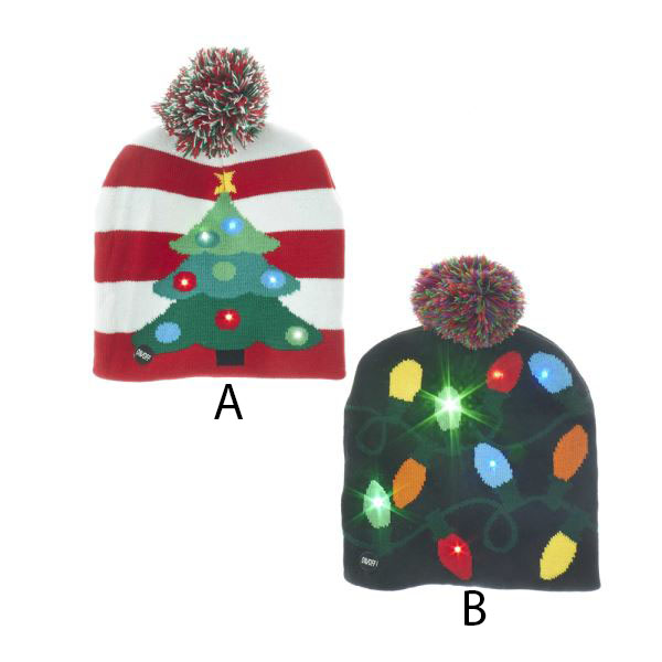 Christmas Hats.Christmas Pattern Knit Hat W Led Lights Assorted