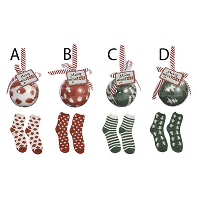 Assorted Holiday Socks in Acrylic Ball Ornament