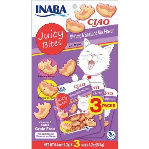 CIAO JUICY BITES SHRIMP SEAFD 3PK