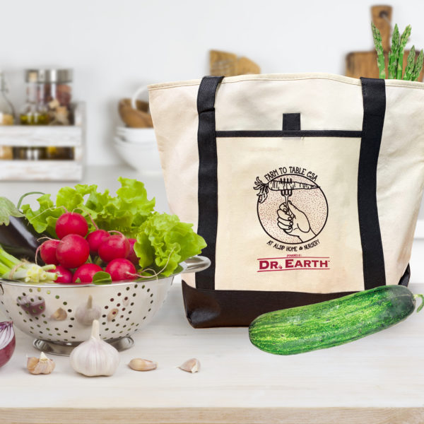 Receive one free tote bag and a single share of weekly produce every Saturday starting June through October with our Half Share CSA Subscription!