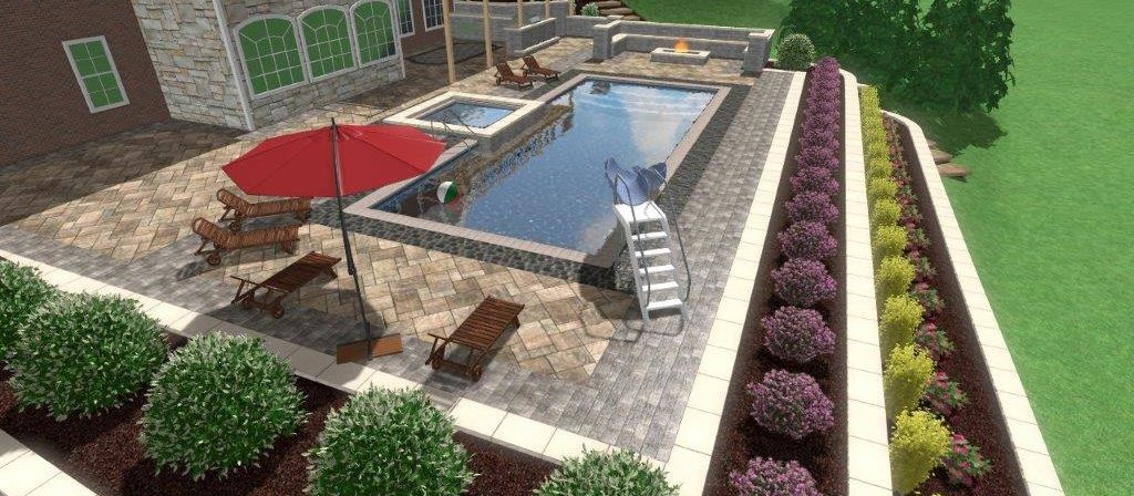 Landscapes Design by Alsip Home & Nursery featuring pool and patio hardscapes.