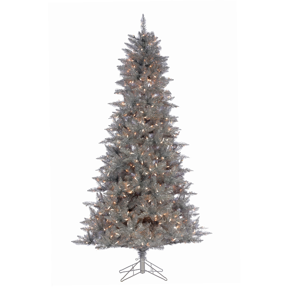 Christmas Tree Tinsel.4 5 Silver Tinsel Christmas Tree Pre Lit Clear Lights