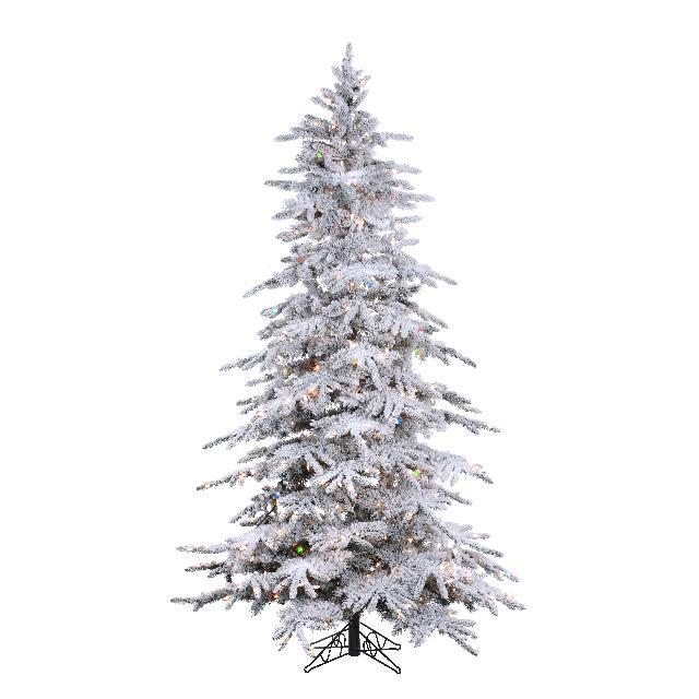 Slim Flocked Christmas Tree With Lights.4 5 Flocked Balsam Slim Lifelike Tree Pre Lit Clear Multicolor Lights