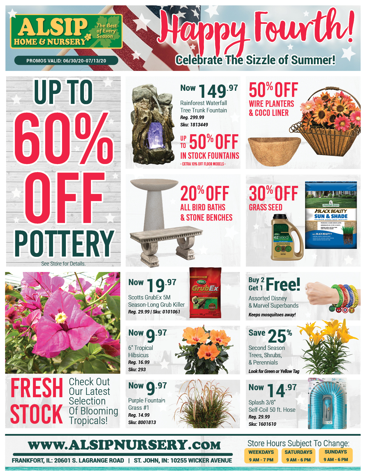 Fourth of July Savings at Alsip Home & Nursery