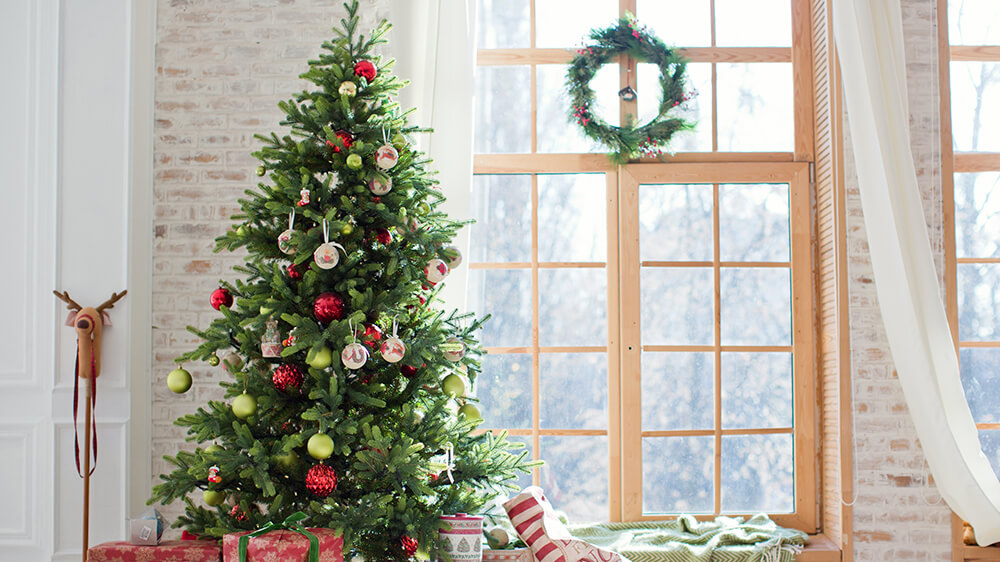 Alsip Real Christmas Tree Care decorated tree up against window