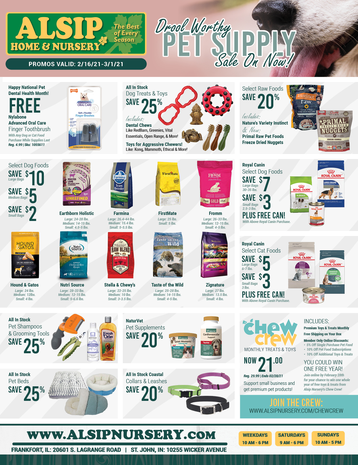 Drool Worthy Pet Supply Savings From Alsip Home & Nursery - Valid Promo Dates Apply