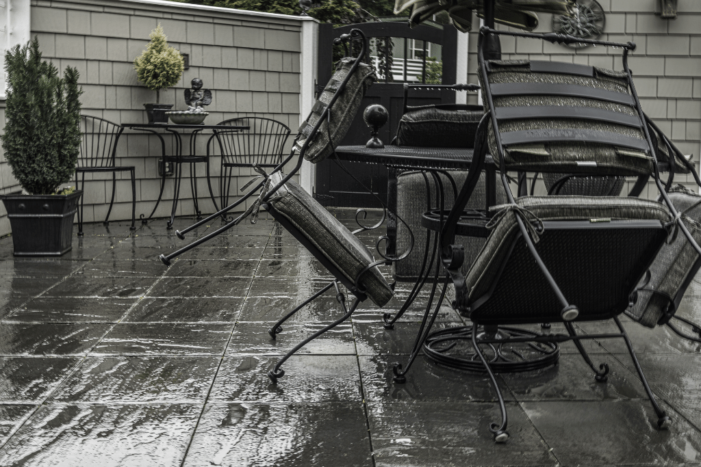 durable patio furniture in the rain on a spring day alsip nurseries