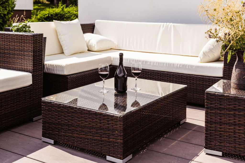 quality patio furniture with a wine bottle on a summer day in the backyard alsip nurseries
