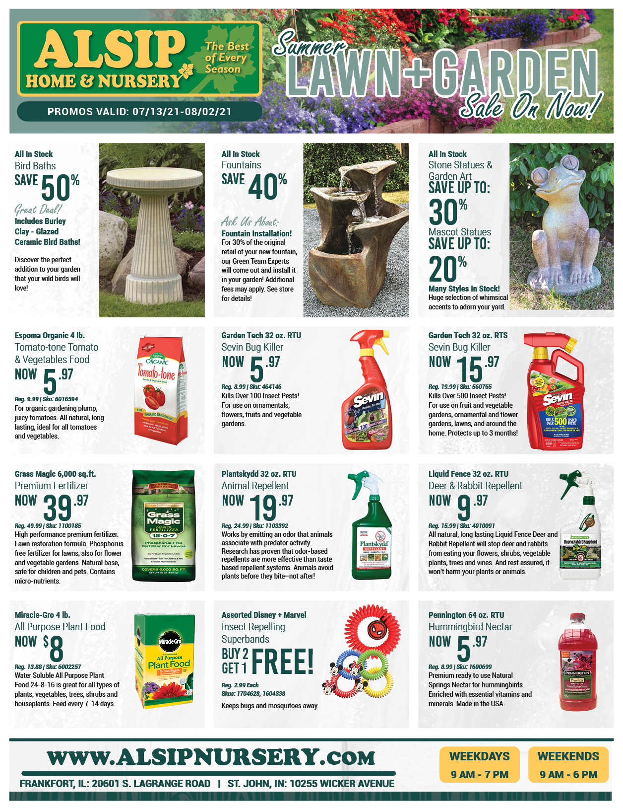 Summer Lawn and Garden Sale on Now Through August 2nd, 2021