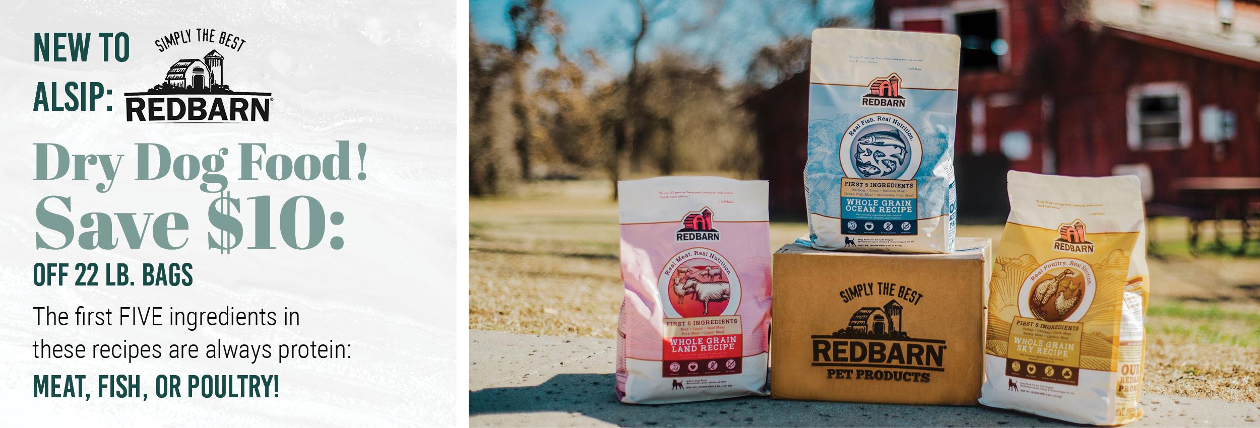 Save $10 Off New Red Barn 22 lb. Dog Food