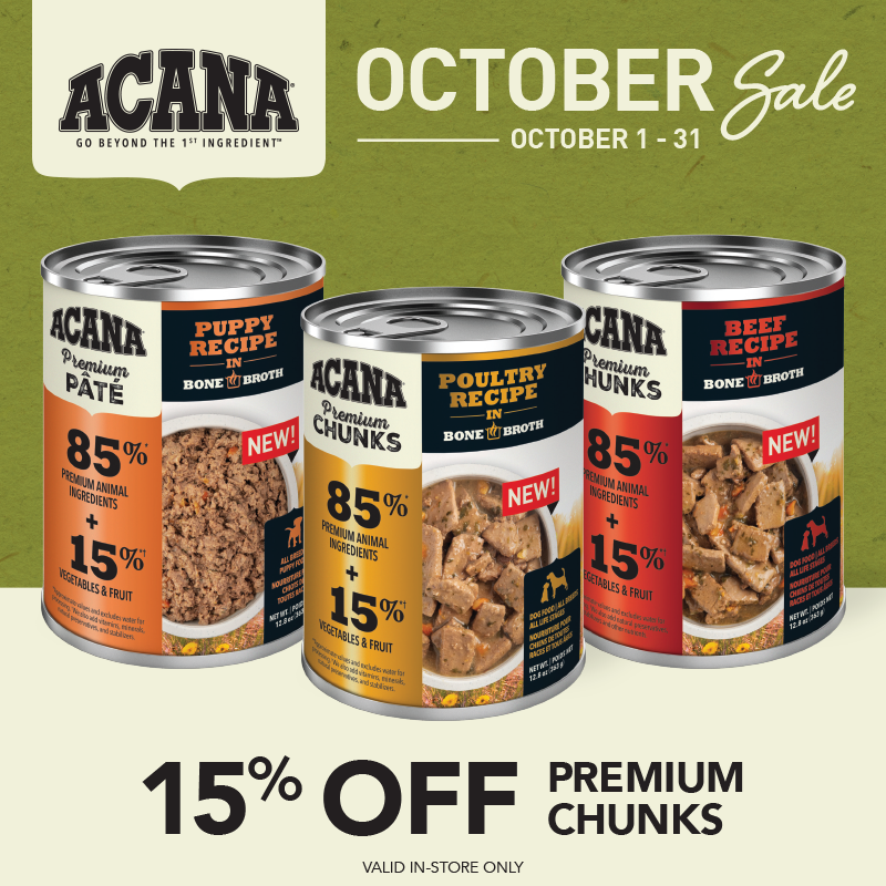October 2021: Acana 15% Off Premium Chunks