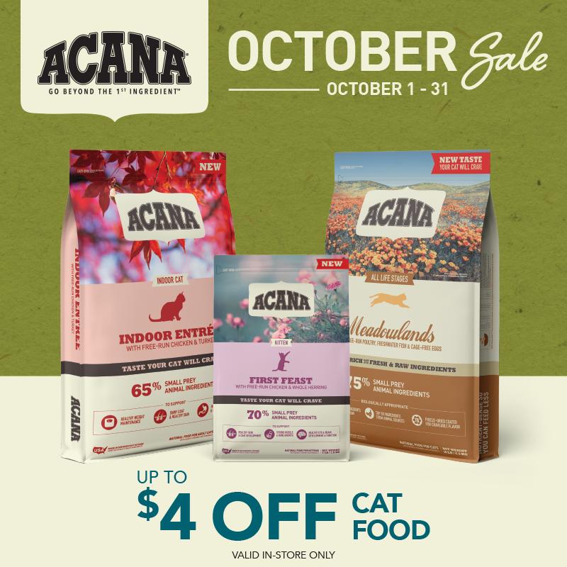 October 2021: Acana 4 Off Cat Food