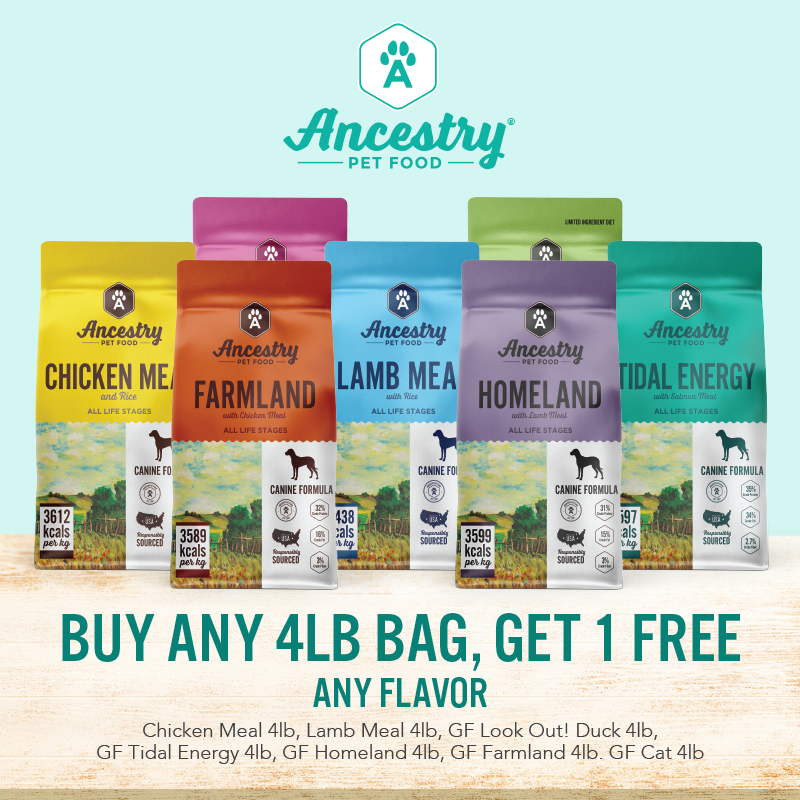 Ancestry Pet Food Buy a 4lb Bag Get One Free Any Flavor