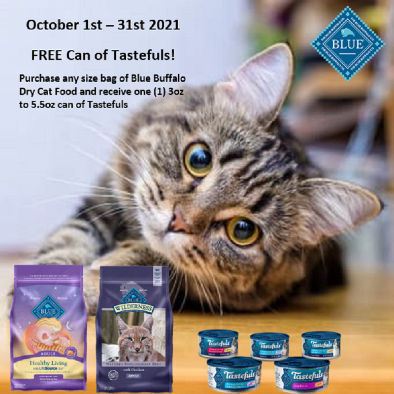 October 2021: Blue Buffalo Free Can Tastefuls with Dry Cat Food Purchase