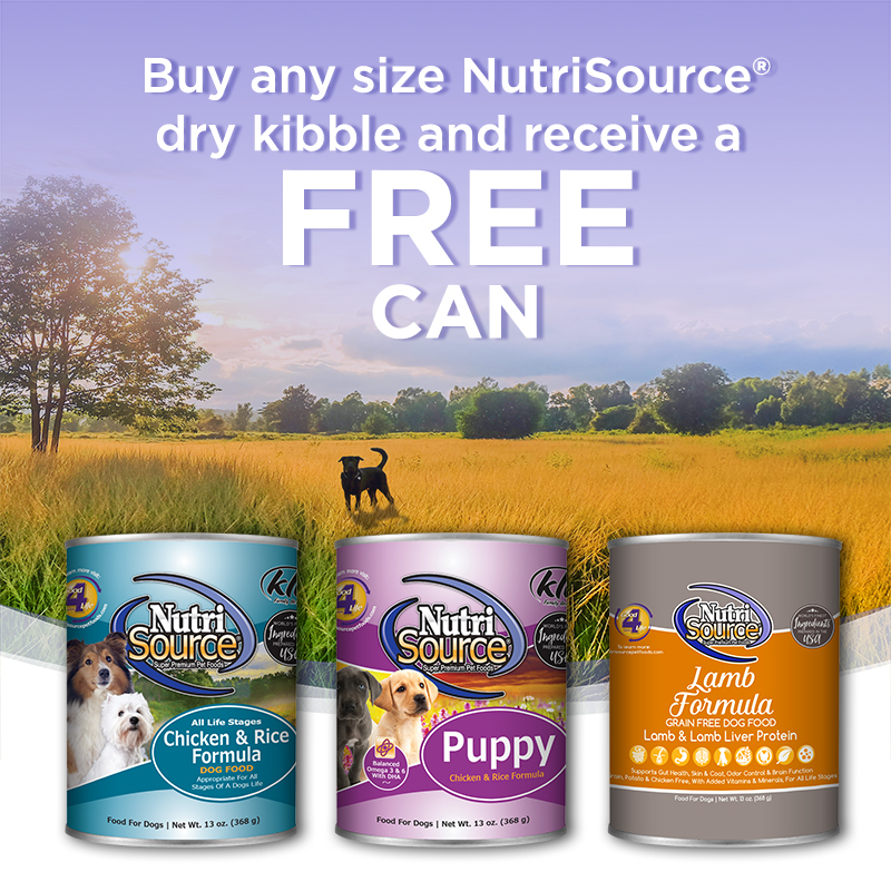 NutriSource Buy Any Dry Kibbler Receive a Free Can