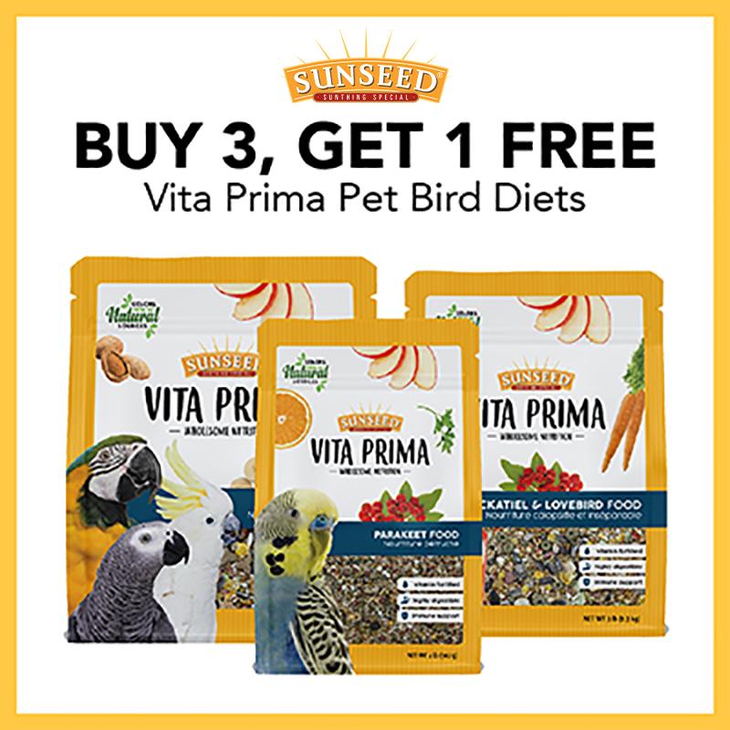 October 2021: Sunseed Buy 3 Get 1 Free Vita PrimaPet Bird Diets